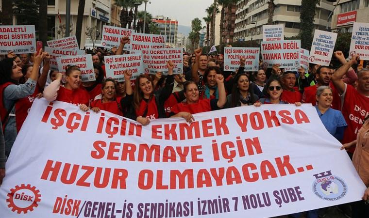 İzmir'de işçiler DİSK'in çağrısıyla  iş bıraktı