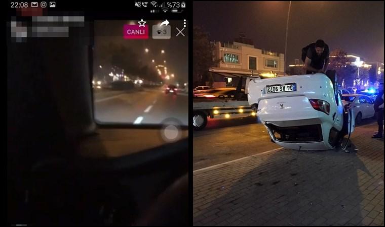 Sosyal medyada canlı yayın yaparken böyle kaza yaptı