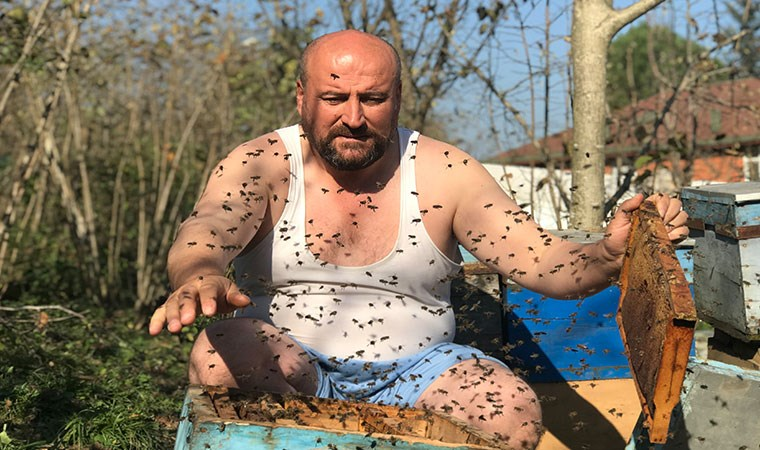 'Arılarım beni tanır' dedi, binlerce arının içine yarı çıplak girdi!