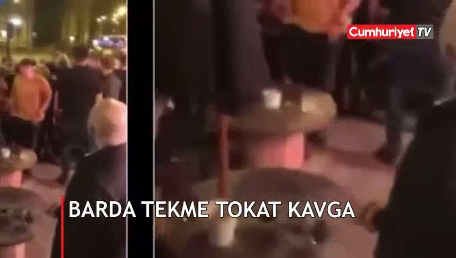 Barda tekme tokat kavga etti
