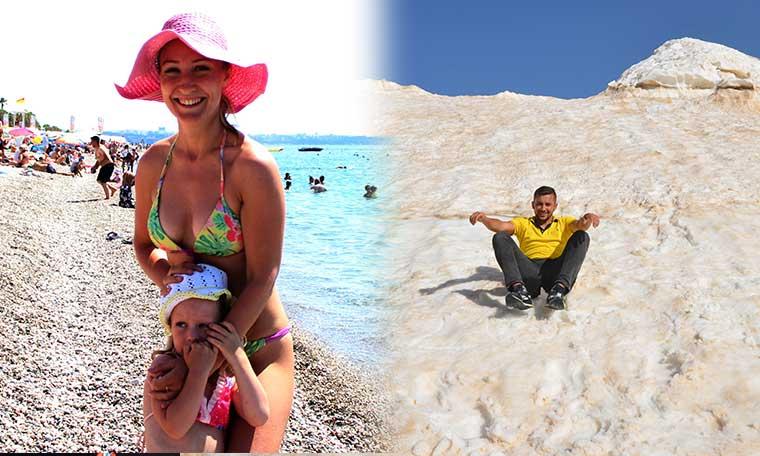 Antalya'da iki ayrı manzara: Bir tarafta deniz ve güneş bir tarafta kar
