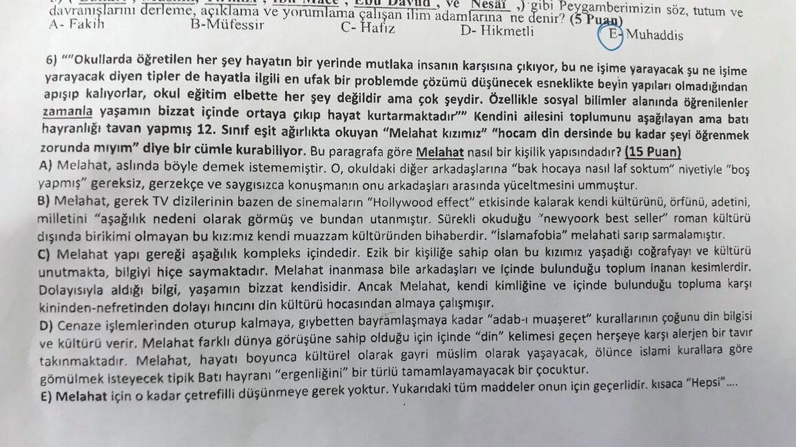 MEB, sınavda müfredat dışı aşağılayıcı soru soran öğretmene soruşturma başlattı