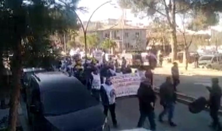 Soma tazminat mağduru maden işçileri uyarı eyleminde