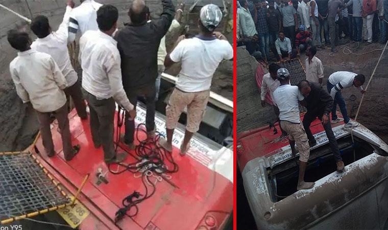 Hindistan'da 3 tekerlekli taksi ile çarpışan yolcu otobüsünün çukura düşmesi sonucu 27 kişinin öldüğü, 32 kişinin yaralandığı belirtildi. ile ilgili görsel sonucu