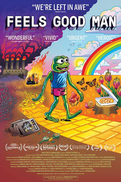 """<p>""""Feels Good Man"""" - Arthur Jones</p><p>Yönetmen koltuğunda Arthur Jones'un oturduğu belgesel, dünya prömiyerini Sundance Film Festivali'nde yaptı ve Jüri Özel Ödülü'nün (Çıkış Yapan Sinemacı) sahibi oldu.</p><p>Sosyal medyada yıllarca meme'lere konu olan Pepe the Frog'un yaratım ve gelişim sürecini konu edinen """"Feels Good Man"""", Pepe'nin yıllar boyunca toplumsal ve politik olarak geçirdiği değişimi açıklıyor.</p>"""