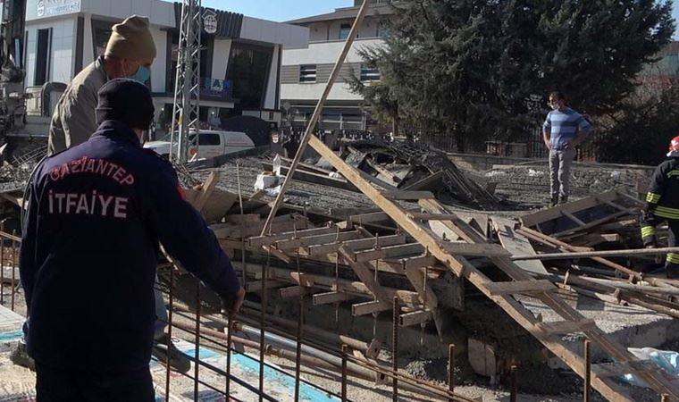 Gaziantep'te beton dökümü sırasında inşaatın zemini çöktü: 2 yaralı