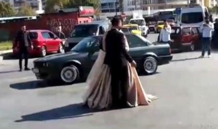 Düğün konvoyunda utandıran görüntüler!