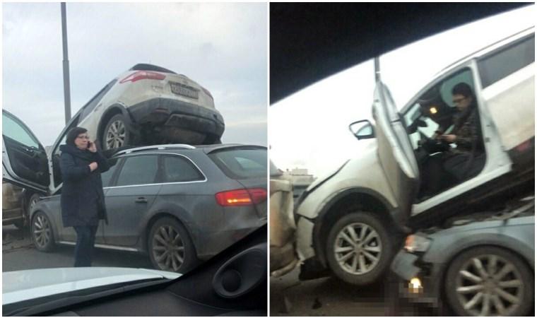 Kaza yapan araçlar üst üste çıktı