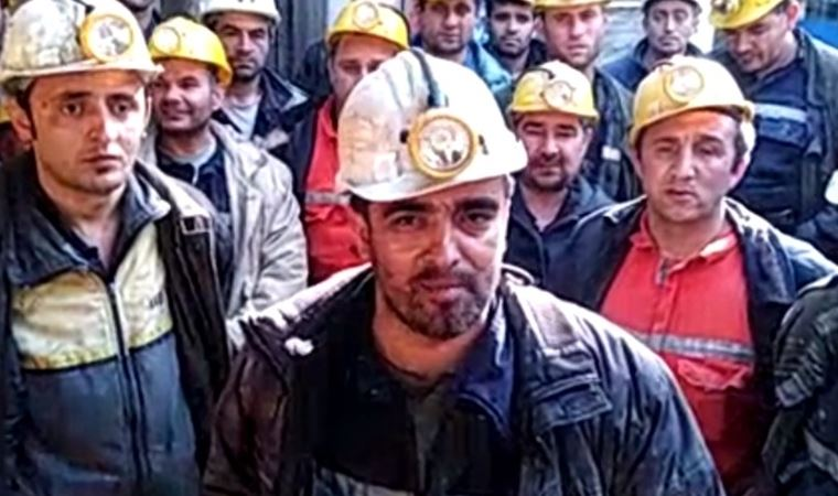 İşçilerden madende maaş eylemi