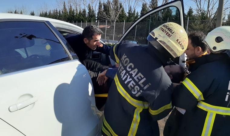 Fenalık geçiren sürücü TEM'de ölümden döndü