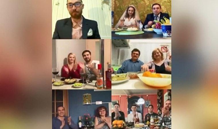 Genç çift internet üzerinden düğün yaptı
