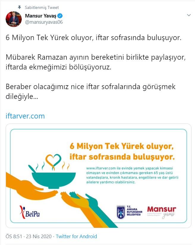 """Ankara Büyükşehir Belediye Başkanı Mansur Yavaş'tan """"Bir iftar da ..."""