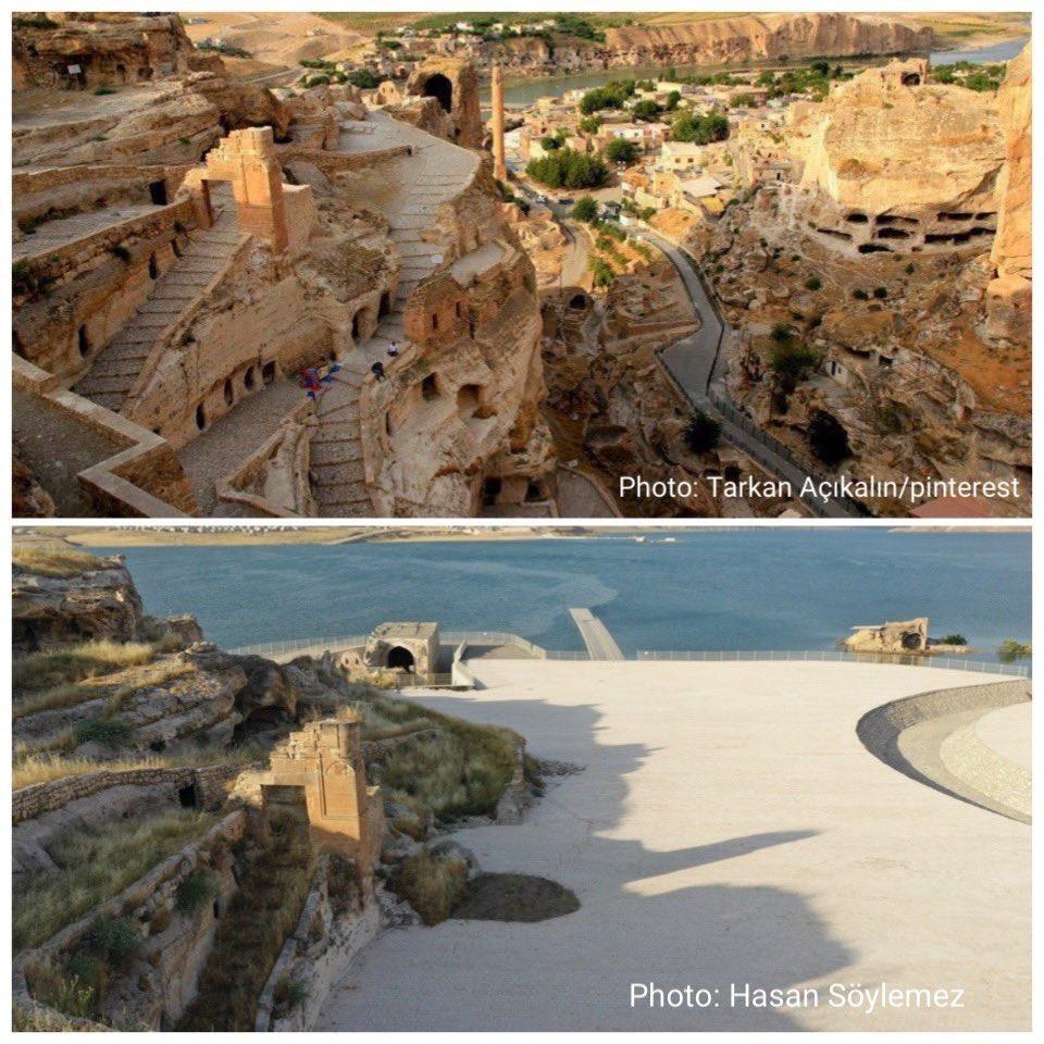<p>Sosyal medyada Hasankeyf'in yeni ve eski halini gösteren fotoğraflar paylaşılarak, yapılan değişikliğe büyük tepki gösterildi.<br></p>