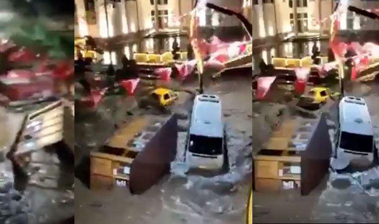 Giresun'da dere taştı, araçlar suda böyle sürüklendi