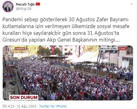 Erdoğan'dan 'sosyal mesafe'siz miting