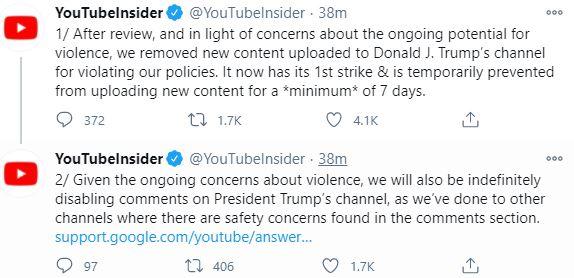075321340 google abd baskani trumpin youtube hesabini askiya aldi 1