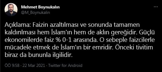 Mehmet Boynukalın: Faiz Kaldırılmalıdır