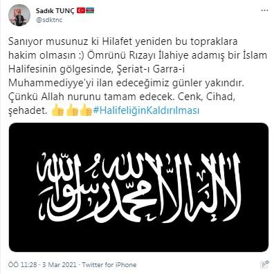 """Hilafet çağrısına suç duyurusu: """"Şeriat-ı Garra-i Muhammediyye'yi ilan  edeceğimiz günler yakındır"""" demişti"""