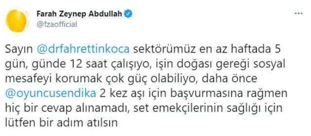 Farah Zeynep Abdullah'tan Sağlık Bakanı Fahrettin Koca'ya aşı çağrısı