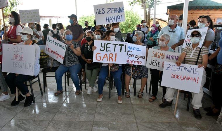 Seferihisar'da köylülerden JES eylemi: 'Canımızı veririz vadimizi JES'e vermeyiz