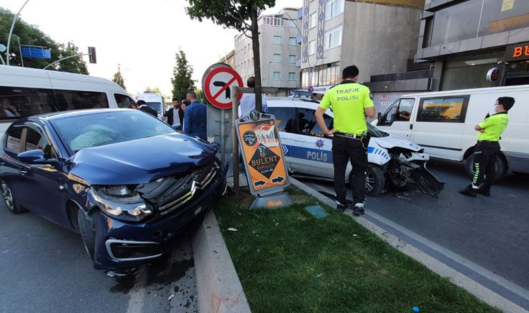 Polis aracı kaza yaptı: Yaralılar var