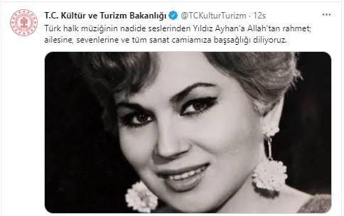 """<p>Kültür ve Turizm Bakanlığı'nın resmi Twitter hesabından yapılan paylaşımda, """"Türk halk müziğinin nadide seslerinden Yıldız Ayhan'a Allah'tan rahmet; ailesine, sevenlerine ve tüm sanat camiamıza başsağlığı diliyoruz"""" ifadeleri kullanıldı.<br></p>"""