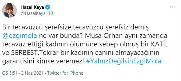"""<p>Ezgi Mola hakkında Musa Orhan'a hakaret ettiği iddiasıyla açılan davada 2 yıl 4 aya kadar hapis cezası istenmesinin ardından Twitter'da """"#YalnızDeğilsinEzgiMola"""" etiketi ile Mola'ya binlerce destek mesajı yağdı.</p>"""