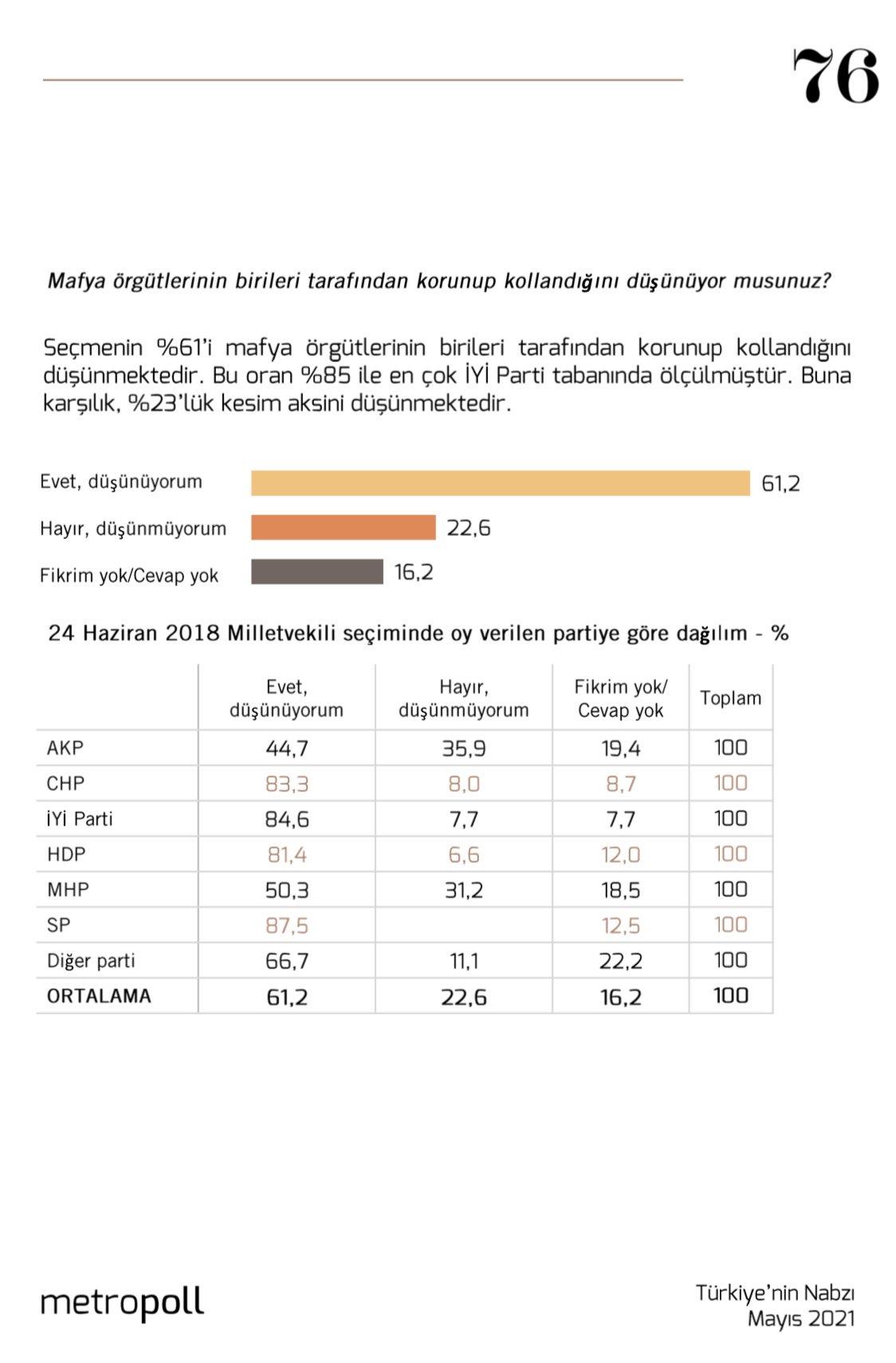 <p>AKP seçmeninin ise yüzde 44,7'si mafya örgütlerinin birileri tarafından korunup kollandığını söyledi.</p>