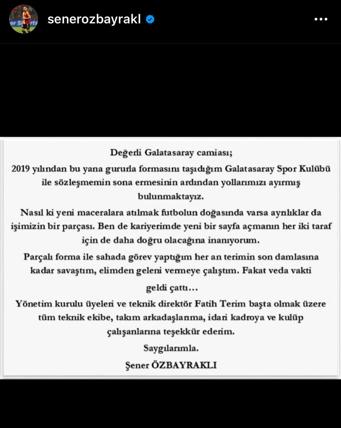 """<p>Şener Özbayraklı """"Ayrılıklar da bu işin parçası"""" diyerek Galatasaray'a veda etti.&nbsp;</p>"""