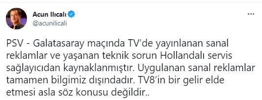 """<p>Ilıcalı ise, sosyal medya hesabından """"PSV - Galatasaray maçında TV'de yayınlanan sanal reklamlar ve yaşanan teknik sorun Hollandalı servis sağlayıcıdan kaynaklanmıştır. Uygulanan sanal reklamlar tamamen bilgimiz dışındadır. TV8'in bir gelir elde etmesi asla söz konusu değildir.."""" açıklamasını yaptı.<br></p>"""