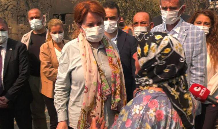 Yangında evini kaybeden kadın Akşener'e sarılarak ağladı