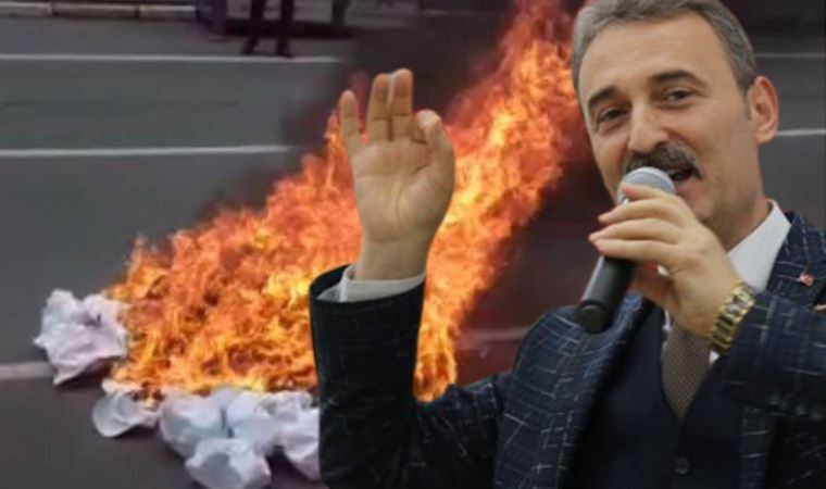 MHP'li başkan logoyu gördü, şapkaları yaktı